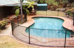 Steel pool fence, pool fencing