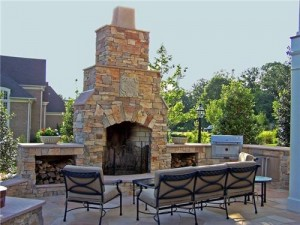 outdoor stone fireplace, fireplace